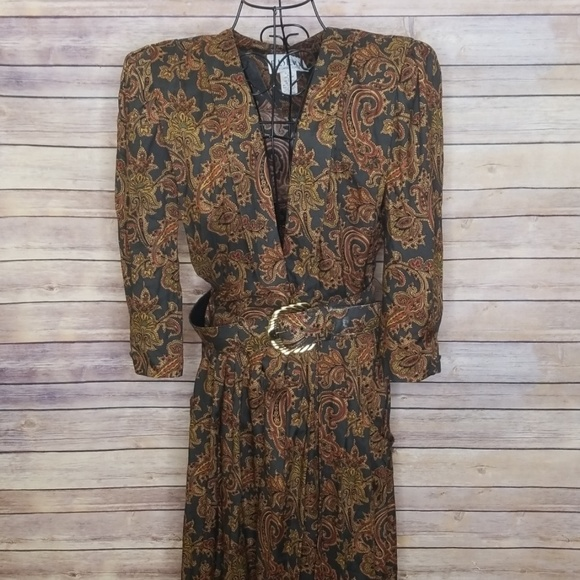 R.J. Stevens Dresses & Skirts - Vintage R.J. Stevens 14 paisley dress with belt